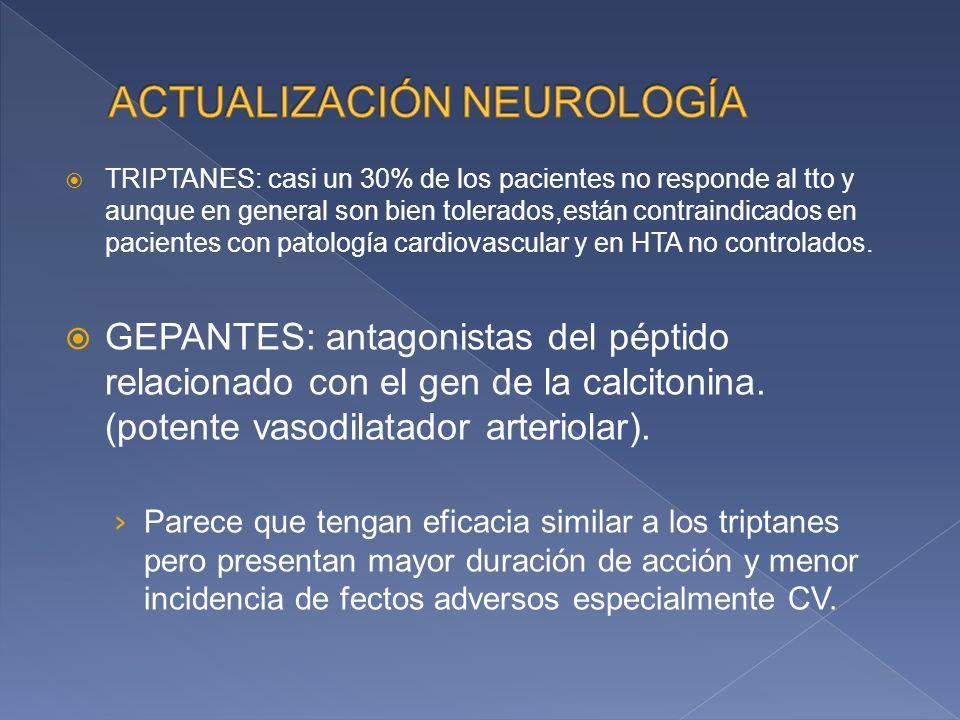 TRIPTANES: casi un 30% de los pacientes no responde al tto y aunque en general son bien tolerados,están contraindicados en pacientes con patología cardiovascular y en HTA no controlados.