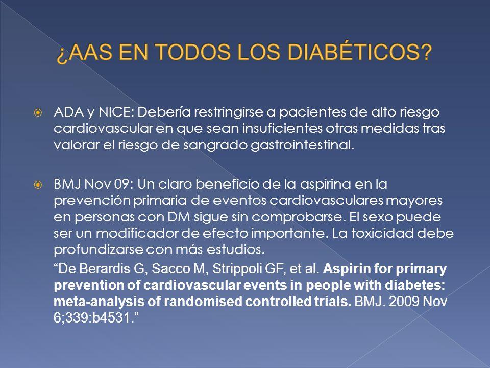 ADA y NICE: Debería restringirse a pacientes de alto riesgo cardiovascular en que sean insuficientes otras medidas tras valorar el riesgo de sangrado gastrointestinal.