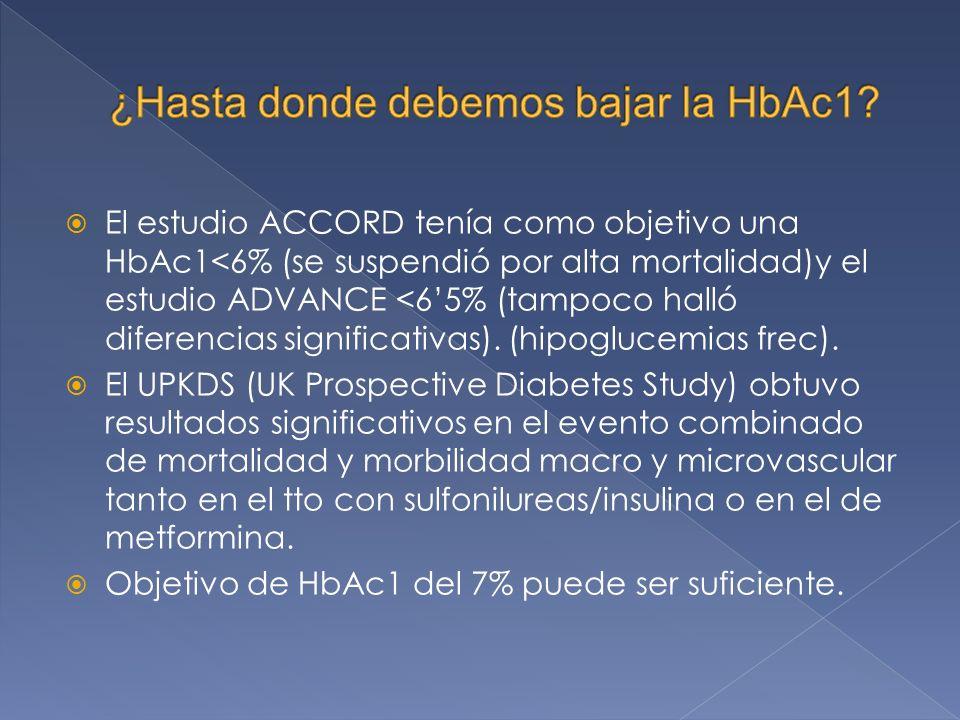 El estudio ACCORD tenía como objetivo una HbAc1<6% (se suspendió por alta mortalidad)y el estudio ADVANCE <65% (tampoco halló diferencias significativas).