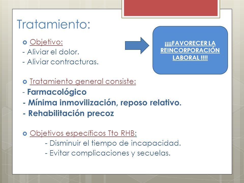 Tratamiento: Objetivo: - Aliviar el dolor. - Aliviar contracturas. Tratamiento general consiste: - Farmacológico - Mínima inmovilización, reposo relat