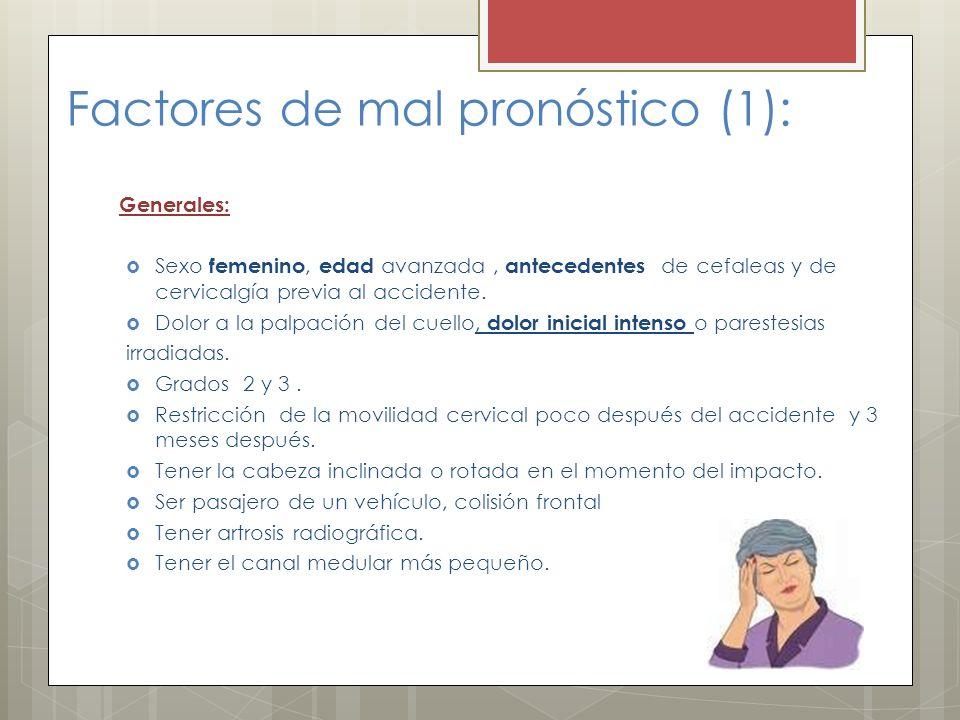 Factores de mal pronóstico (1): Generales: Sexo femenino, edad avanzada, antecedentes de cefaleas y de cervicalgía previa al accidente. Dolor a la pal