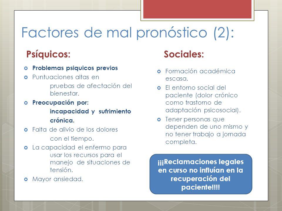 Factores de mal pronóstico (2): Psíquicos: Problemas psiquicos previos Puntuaciones altas en pruebas de afectación del bienestar. Preocupación por: in