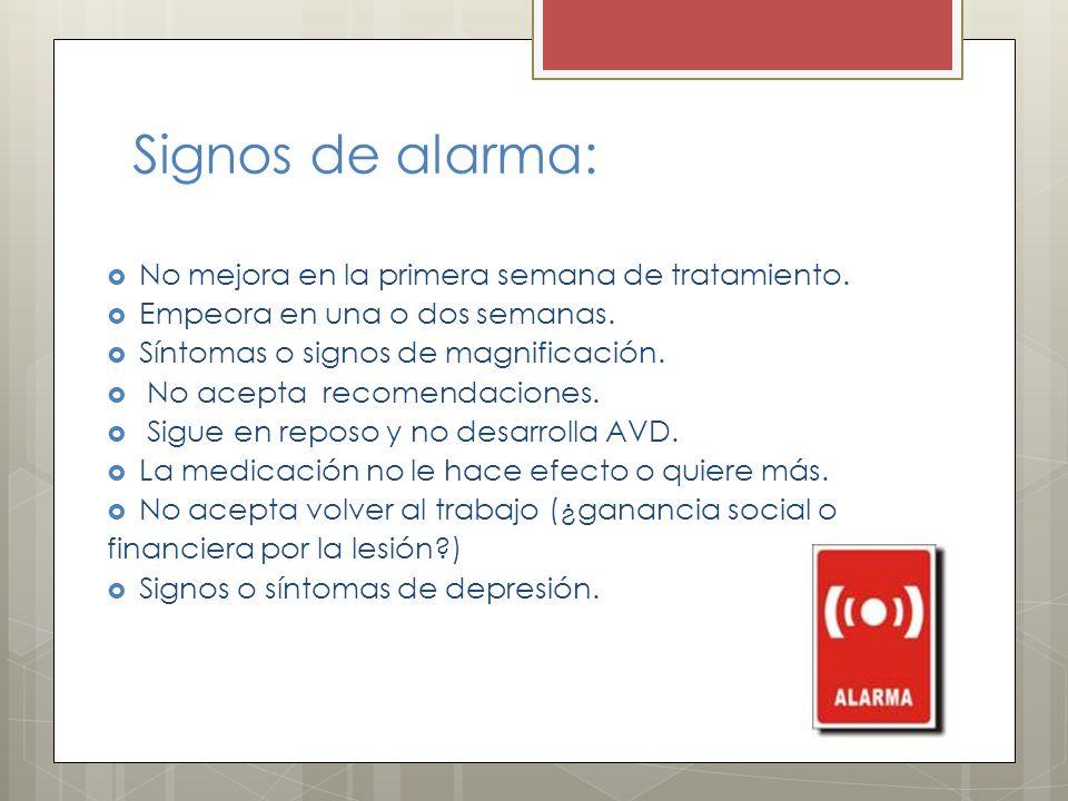 Signos de alarma: No mejora en la primera semana de tratamiento. Empeora en una o dos semanas. Síntomas o signos de magnificación. No acepta recomenda