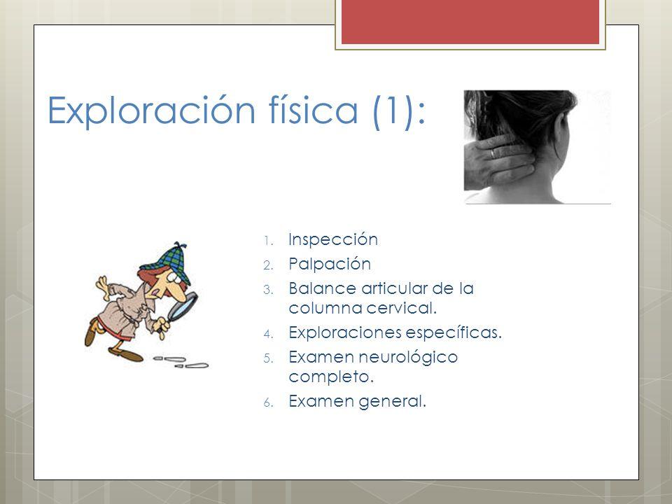 Exploración física (1): 1. Inspección 2. Palpación 3. Balance articular de la columna cervical. 4. Exploraciones específicas. 5. Examen neurológico co