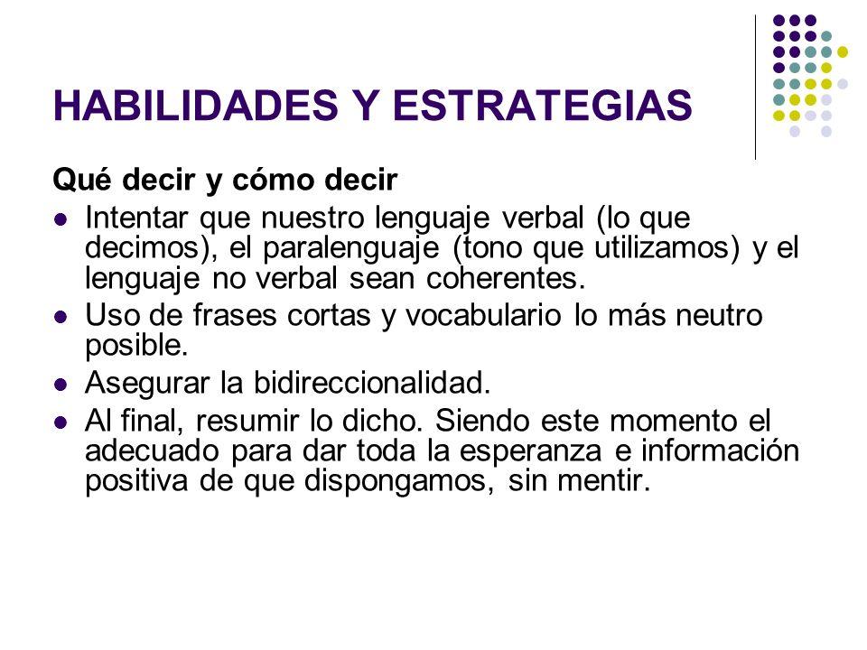 HABILIDADES Y ESTRATEGIAS Qué decir y cómo decir Intentar que nuestro lenguaje verbal (lo que decimos), el paralenguaje (tono que utilizamos) y el len