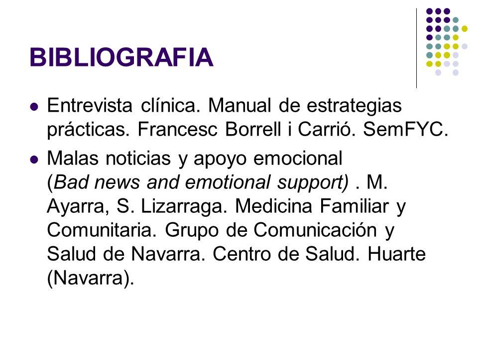 BIBLIOGRAFIA Entrevista clínica. Manual de estrategias prácticas. Francesc Borrell i Carrió. SemFYC. Malas noticias y apoyo emocional (Bad news and em