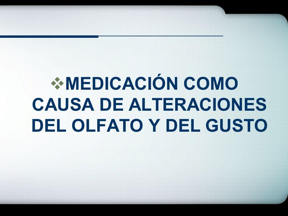 MEDICACIÓN COMO CAUSA DE ALTERACIONES DEL OLFATO Y DEL GUSTO