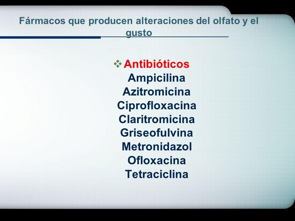 Fármacos que producen alteraciones del olfato y el gusto Antibióticos Ampicilina Azitromicina Ciprofloxacina Claritromicina Griseofulvina Metronidazol