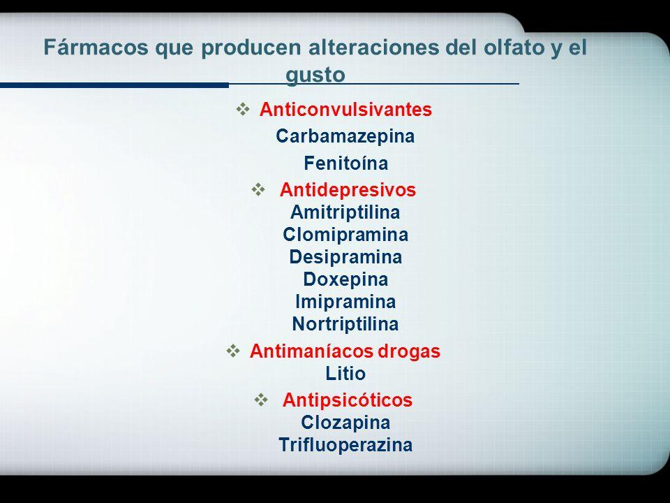 Fármacos que producen alteraciones del olfato y el gusto Anticonvulsivantes Carbamazepina Fenitoína Antidepresivos Amitriptilina Clomipramina Desipram