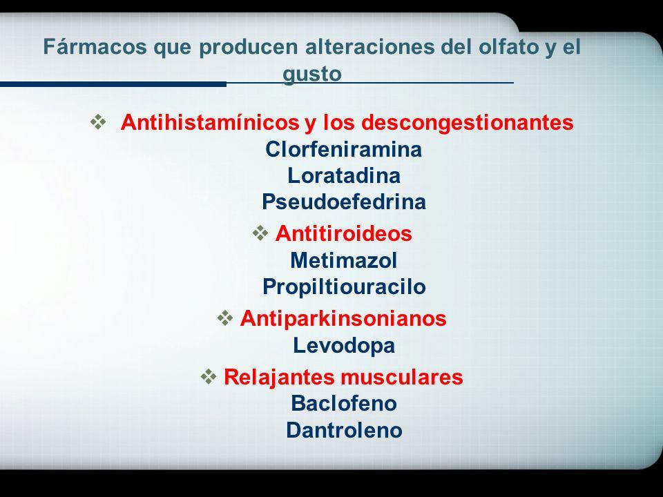 Fármacos que producen alteraciones del olfato y el gusto Antihistamínicos y los descongestionantes Clorfeniramina Loratadina Pseudoefedrina Antitiroid