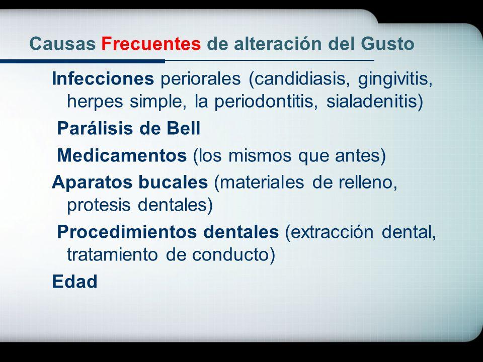 Causas Frecuentes de alteración del Gusto Infecciones periorales (candidiasis, gingivitis, herpes simple, la periodontitis, sialadenitis) Parálisis de