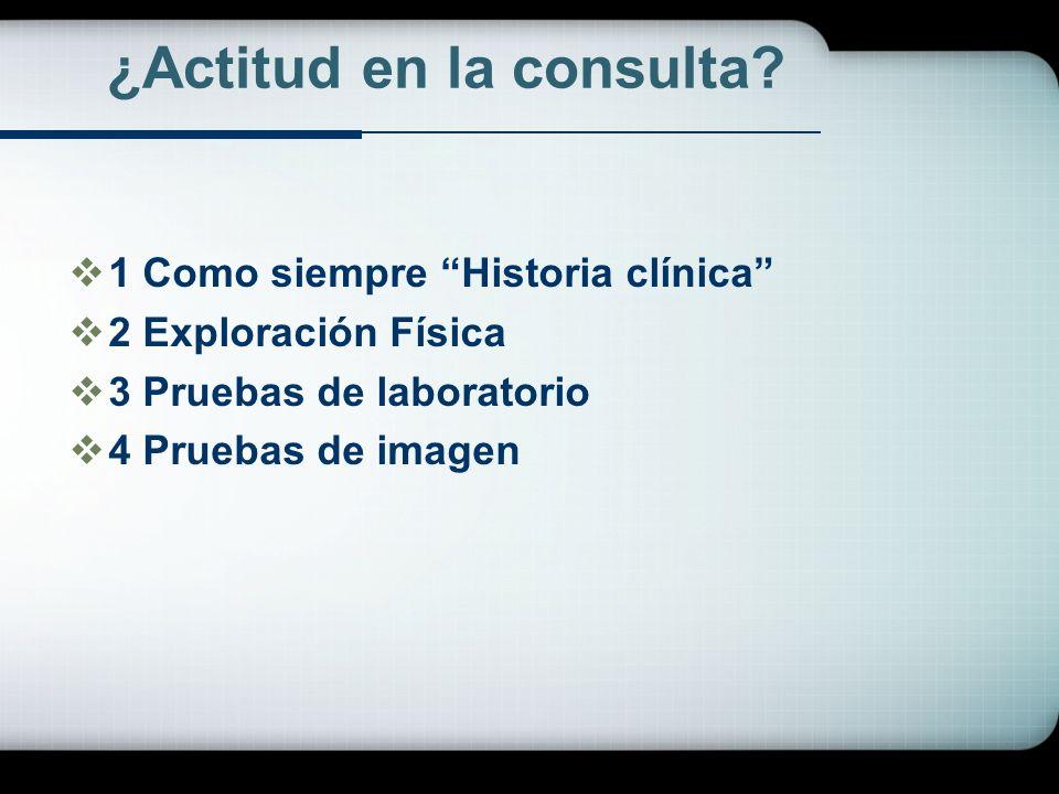 ¿Actitud en la consulta? 1 Como siempre Historia clínica 2 Exploración Física 3 Pruebas de laboratorio 4 Pruebas de imagen