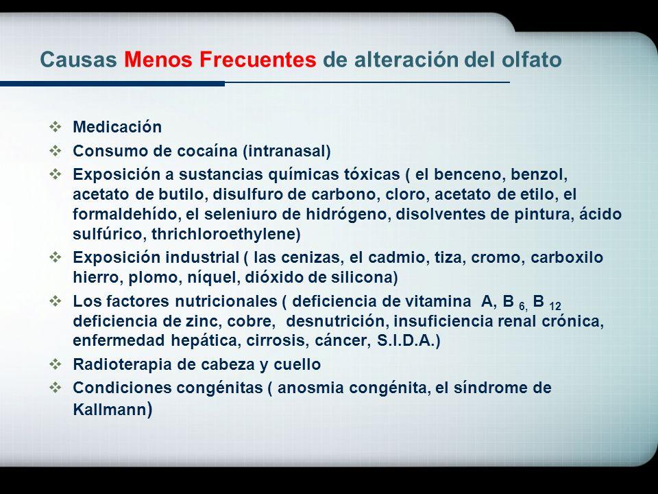 Causas Menos Frecuentes de alteración del olfato Medicación Consumo de cocaína (intranasal) Exposición a sustancias químicas tóxicas ( el benceno, ben