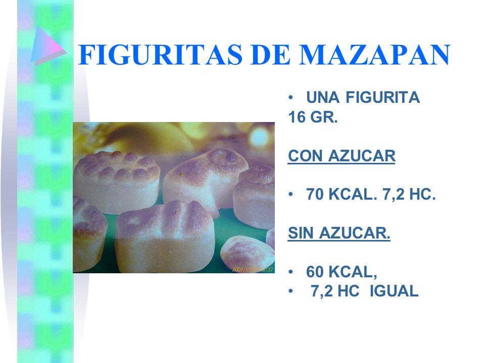 FIGURITAS DE MAZAPAN UNA FIGURITA 16 GR. CON AZUCAR 70 KCAL. 7,2 HC. SIN AZUCAR. 60 KCAL, 7,2 HC IGUAL