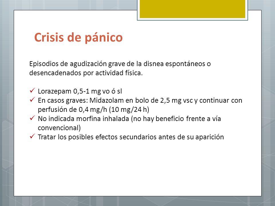 Crisis de pánico Episodios de agudización grave de la disnea espontáneos o desencadenados por actividad física. Lorazepam 0,5-1 mg vo ó sl En casos gr