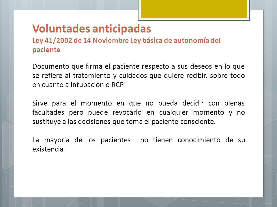 Voluntades anticipadas Ley 41/2002 de 14 Noviembre Ley básica de autonomía del paciente Documento que firma el paciente respecto a sus deseos en lo qu