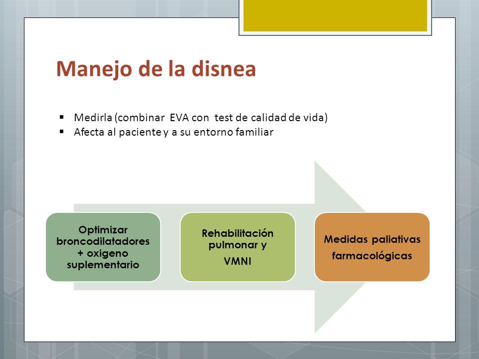 Manejo de la disnea Medirla (combinar EVA con test de calidad de vida) Afecta al paciente y a su entorno familiar Optimizar broncodilatadores + oxigen