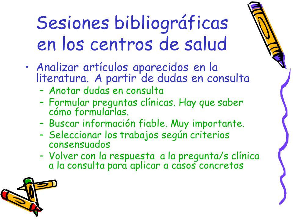 Sesiones bibliográficas en los centros de salud Analizar artículos aparecidos en la literatura. A partir de dudas en consulta –Anotar dudas en consult