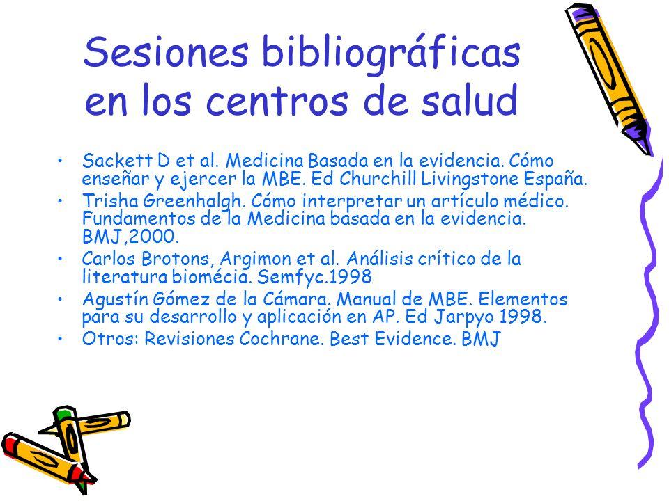 Sesiones bibliográficas en los centros de salud Sackett D et al. Medicina Basada en la evidencia. Cómo enseñar y ejercer la MBE. Ed Churchill Livingst