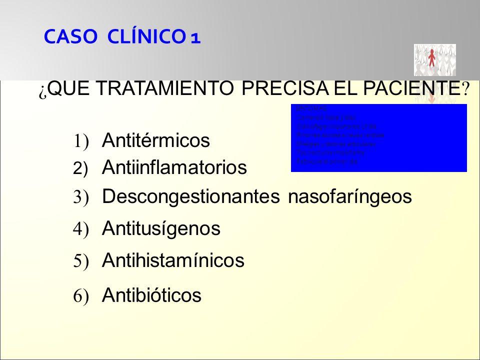 CASO CLÍNICO 1 ¿ QUE TRATAMIENTO PRECISA EL PACIENTE ? 1) Antitérmicos 2) Antiinflamatorios 3) Descongestionantes nasofaríngeos 4) Antitusígenos 5) An