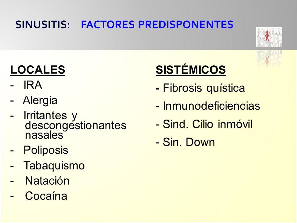 LOCALES - IRA - Alergia - Irritantes y descongestionantes nasales - Poliposis - Tabaquismo -Natación -Cocaína SINUSITIS: FACTORES PREDISPONENTES SISTÉ