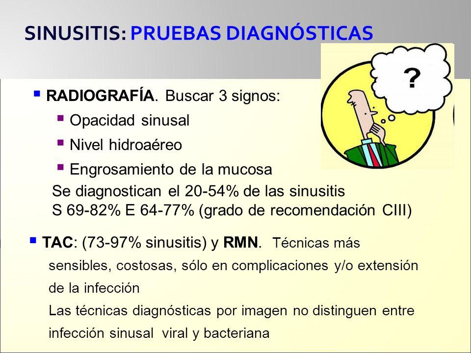SINUSITIS: PRUEBAS DIAGNÓSTICAS RADIOGRAFÍA. Buscar 3 signos: Opacidad sinusal Nivel hidroaéreo Engrosamiento de la mucosa Se diagnostican el 20-54% d