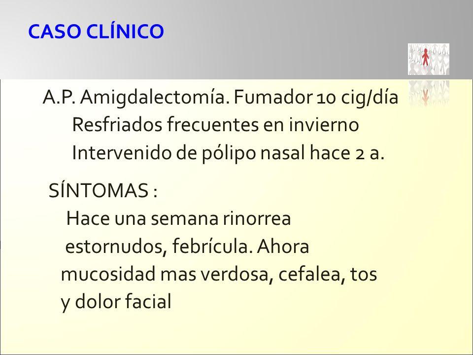 CASO CLÍNICO A.P. Amigdalectomía. Fumador 10 cig/día Resfriados frecuentes en invierno Intervenido de pólipo nasal hace 2 a. SÍNTOMAS : Hace una seman