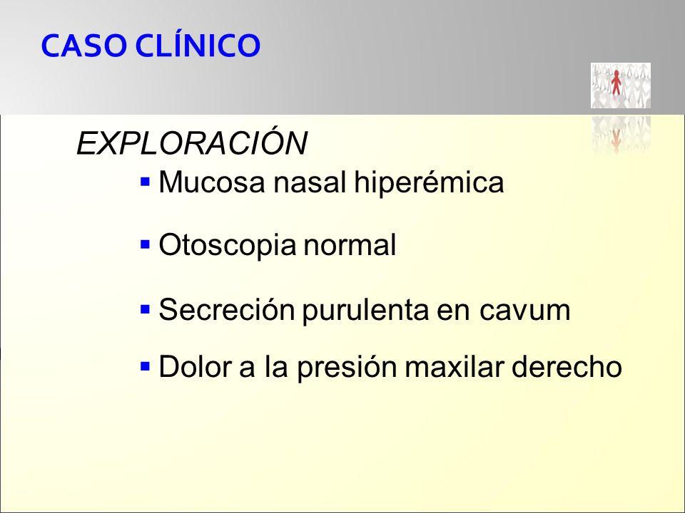CASO CLÍNICO EXPLORACIÓN Mucosa nasal hiperémica Otoscopia normal Secreción purulenta en cavum Dolor a la presión maxilar derecho