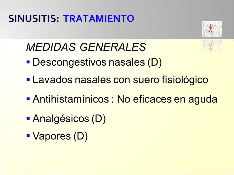 SINUSITIS: TRATAMIENTO MEDIDAS GENERALES Lavados nasales con suero fisiológico Antihistamínicos : No eficaces en aguda Analgésicos (D) Vapores (D) Des