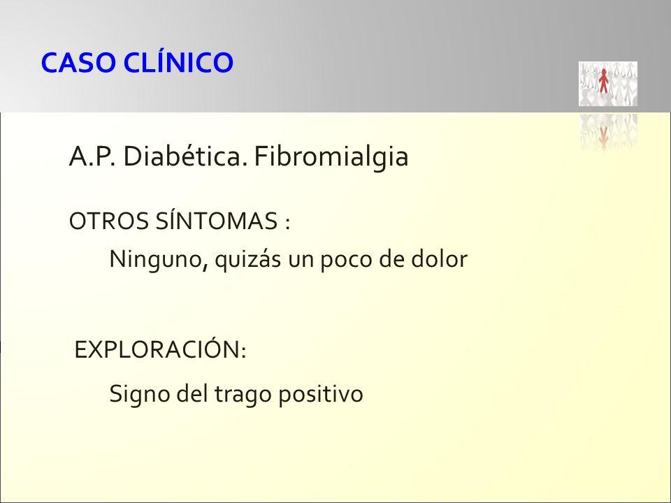 CASO CLÍNICO A.P. Diabética. Fibromialgia OTROS SÍNTOMAS : Ninguno, quizás un poco de dolor EXPLORACIÓN: Signo del trago positivo