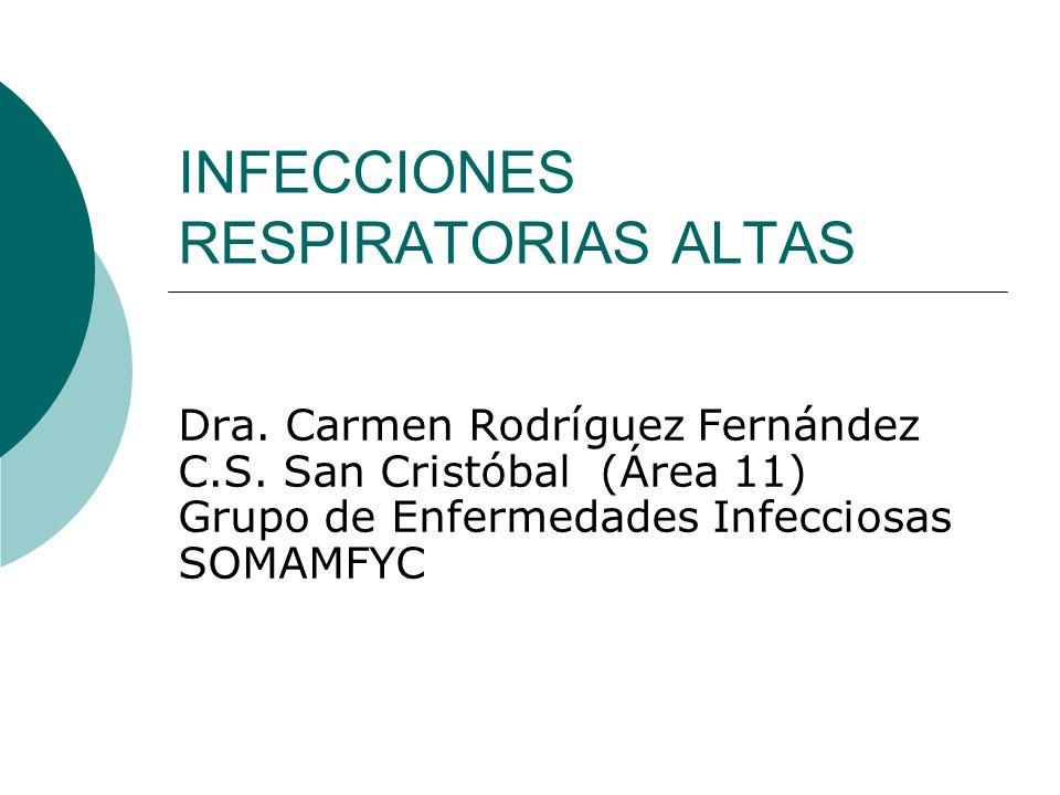 INFECCIONES RESPIRATORIAS ALTAS Dra. Carmen Rodríguez Fernández C.S. San Cristóbal (Área 11) Grupo de Enfermedades Infecciosas SOMAMFYC