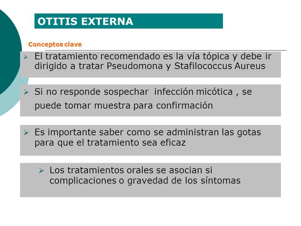 El tratamiento recomendado es la vía tópica y debe ir dirigido a tratar Pseudomona y Stafilococcus Aureus Si no responde sospechar infección micótica,