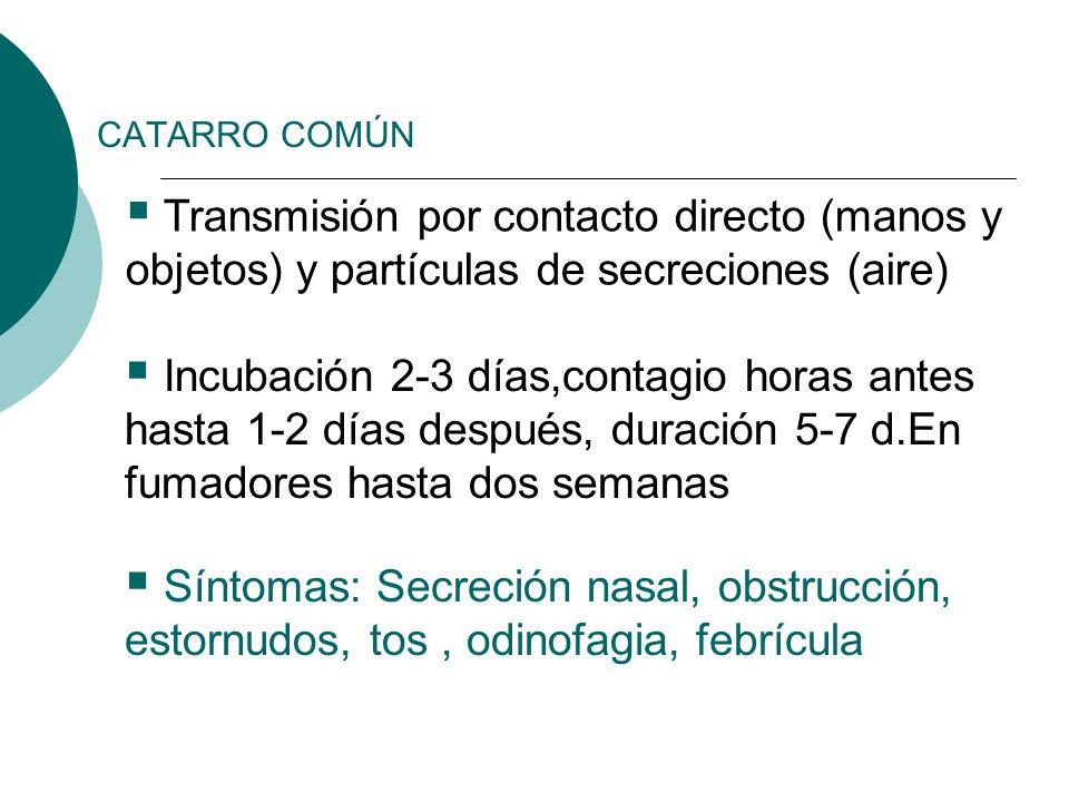CATARRO COMÚN Transmisión por contacto directo (manos y objetos) y partículas de secreciones (aire) Incubación 2-3 días,contagio horas antes hasta 1-2