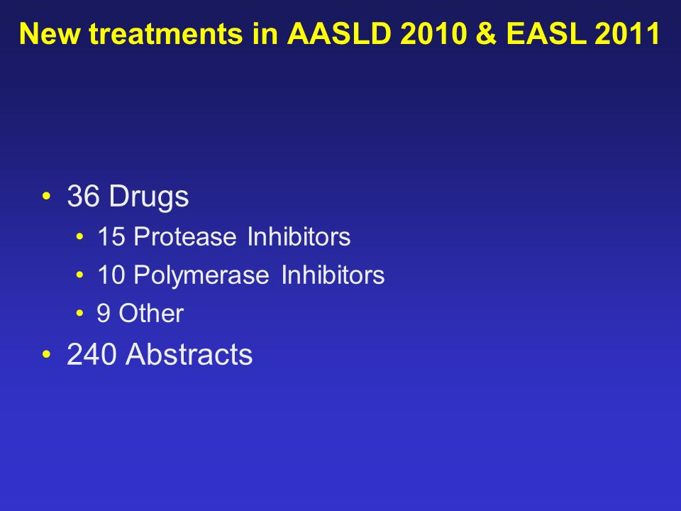New treatments in AASLD 2010 & EASL 2011 36 Drugs 15 Protease Inhibitors 10 Polymerase Inhibitors 9 Other 240 Abstracts