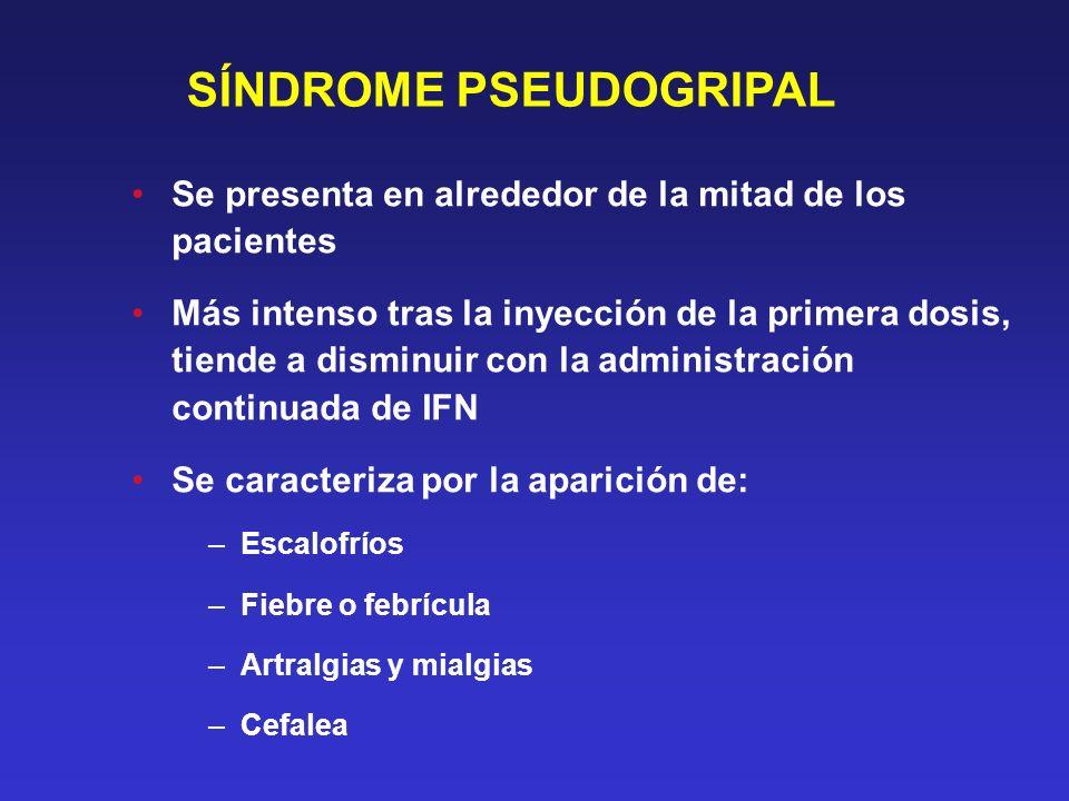 SÍNDROME PSEUDOGRIPAL Se presenta en alrededor de la mitad de los pacientes Más intenso tras la inyección de la primera dosis, tiende a disminuir con