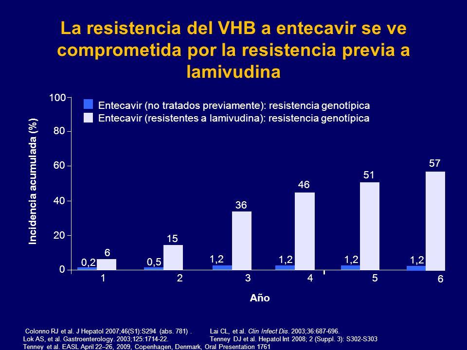 La resistencia del VHB a entecavir se ve comprometida por la resistencia previa a lamivudina Incidencia acumulada (%) 0 20 40 60 80 100 12345 Entecavi