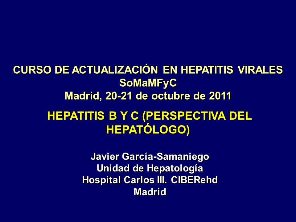 HEPATITIS CRÓNICA VÍRICA Evaluación incruenta de la fibrosis Biopsia hepática Fibroscan ® Fibrotest ® APRI Discrepancia Castéra et al.