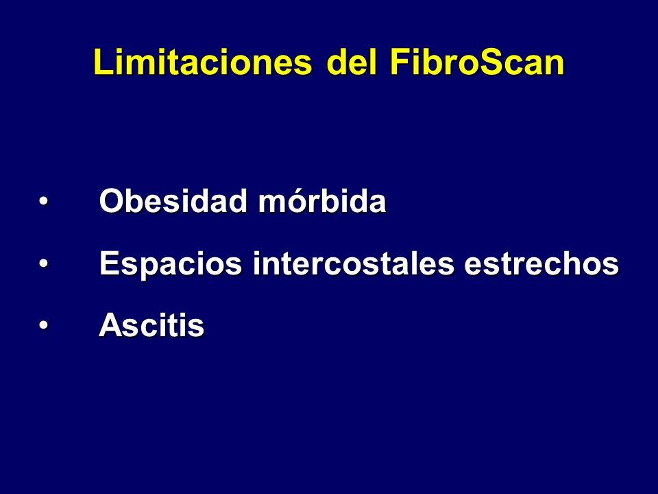 Limitaciones del FibroScan Obesidad mórbidaObesidad mórbida Espacios intercostales estrechosEspacios intercostales estrechos AscitisAscitis