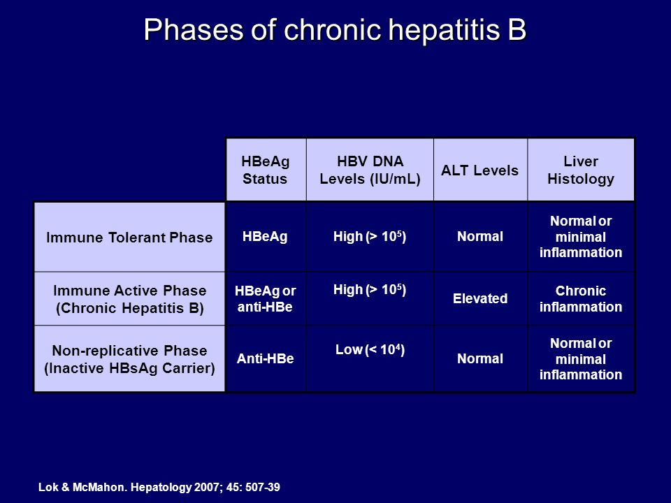 HBeAg Status HBV DNA Levels (IU/mL) ALT Levels Liver Histology Immune Tolerant Phase HBeAgHigh (> 10 5 )Normal Normal or minimal inflammation Immune A