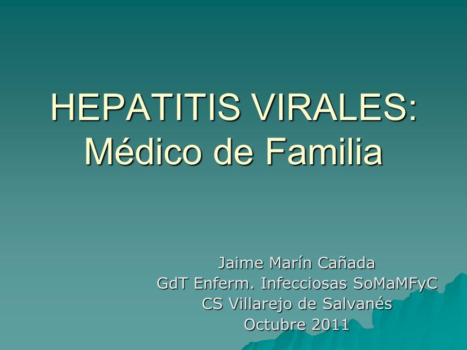 Prevención secundaria VHC CRIBADO ADVP o historia de consumo VIH Hemofílicos que recibieron concentrados de factores antes de 1987 Receptores de transfusiones sanguíneas o receptores de trasplantes antes de 1992 Hemodiálisis Elevaciones inexplicables de transaminasas o sospecha de hepatopatía Sanitarios con exposición parenteral o mucosa a sangre de pacientes VHC+ Recién nacidos de madre VHC+