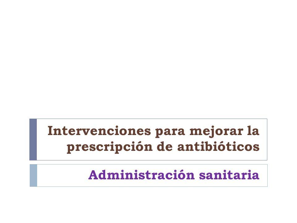 Intervenciones para mejorar la prescripción de antibióticos Administración sanitaria