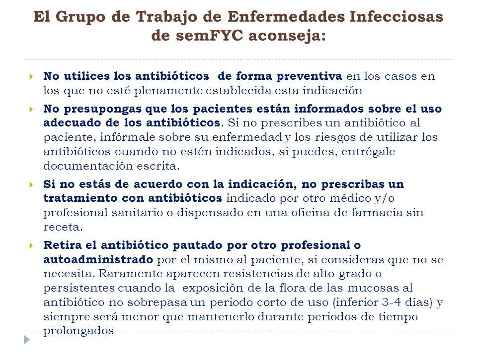 No utilices los antibióticos de forma preventiva en los casos en los que no esté plenamente establecida esta indicación No presupongas que los pacient