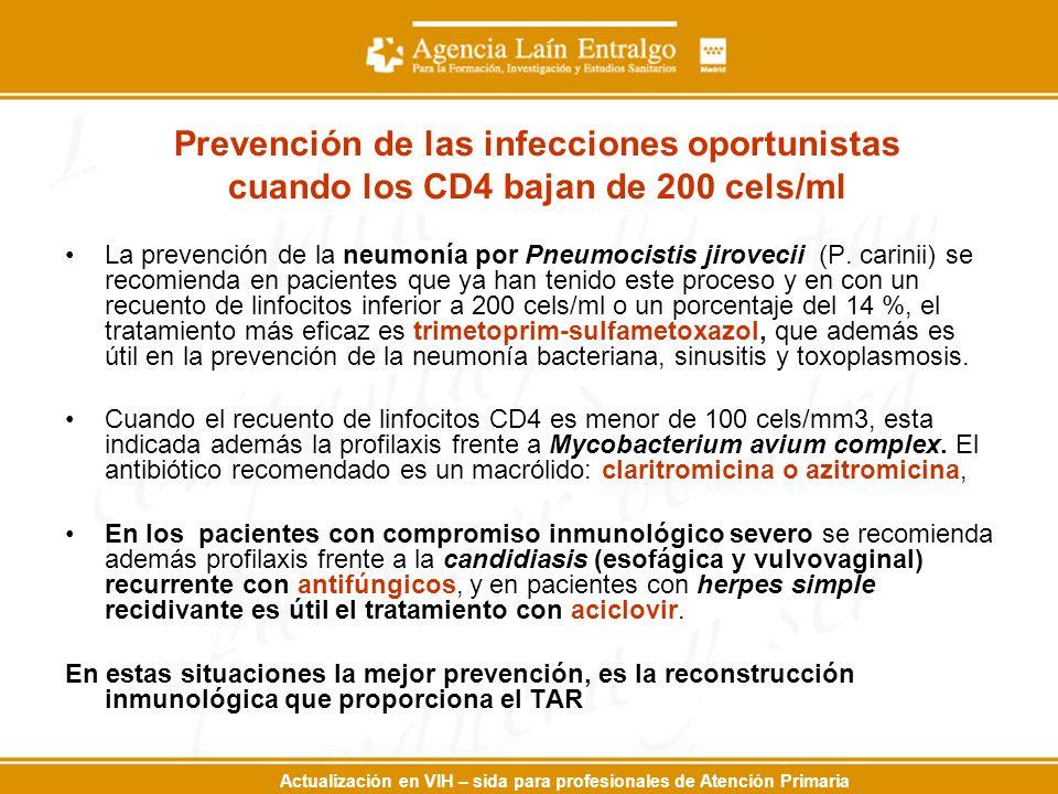 Prevención de las infecciones oportunistas cuando los CD4 bajan de 200 cels/ml La prevención de la neumonía por Pneumocistis jirovecii (P. carinii) se