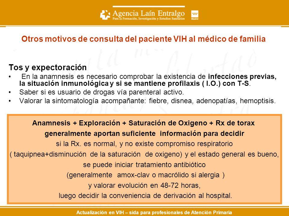 Actualización en VIH – sida para profesionales de Atención Primaria Otros motivos de consulta del paciente VIH al médico de familia Tos y expectoració