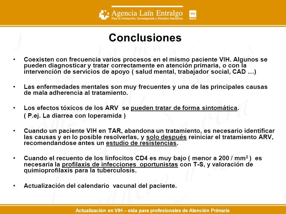 Actualización en VIH – sida para profesionales de Atención Primaria Conclusiones Coexisten con frecuencia varios procesos en el mismo paciente VIH. Al