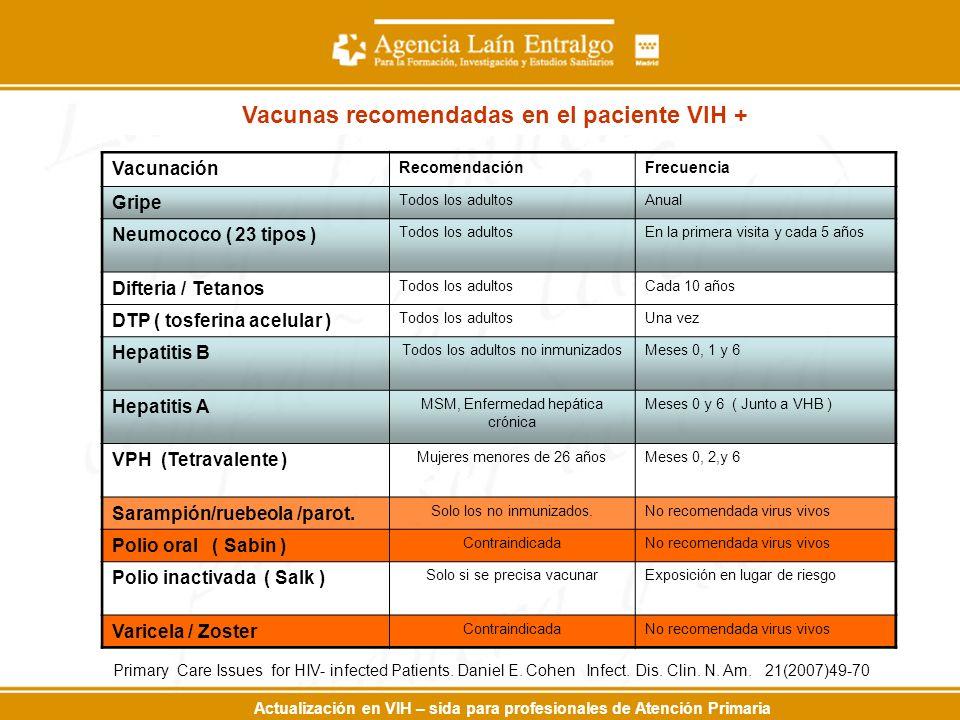 Actualización en VIH – sida para profesionales de Atención Primaria Vacunación RecomendaciónFrecuencia Gripe Todos los adultosAnual Neumococo ( 23 tipos ) Todos los adultosEn la primera visita y cada 5 años Difteria / Tetanos Todos los adultosCada 10 años DTP ( tosferina acelular ) Todos los adultosUna vez Hepatitis B Todos los adultos no inmunizadosMeses 0, 1 y 6 Hepatitis A MSM, Enfermedad hepática crónica Meses 0 y 6 ( Junto a VHB ) VPH (Tetravalente ) Mujeres menores de 26 añosMeses 0, 2,y 6 Sarampión/ruebeola /parot.