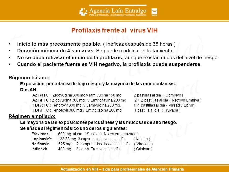Actualización en VIH – sida para profesionales de Atención Primaria Profilaxis frente al virus VIH Inicio lo más precozmente posible. ( Ineficaz despu