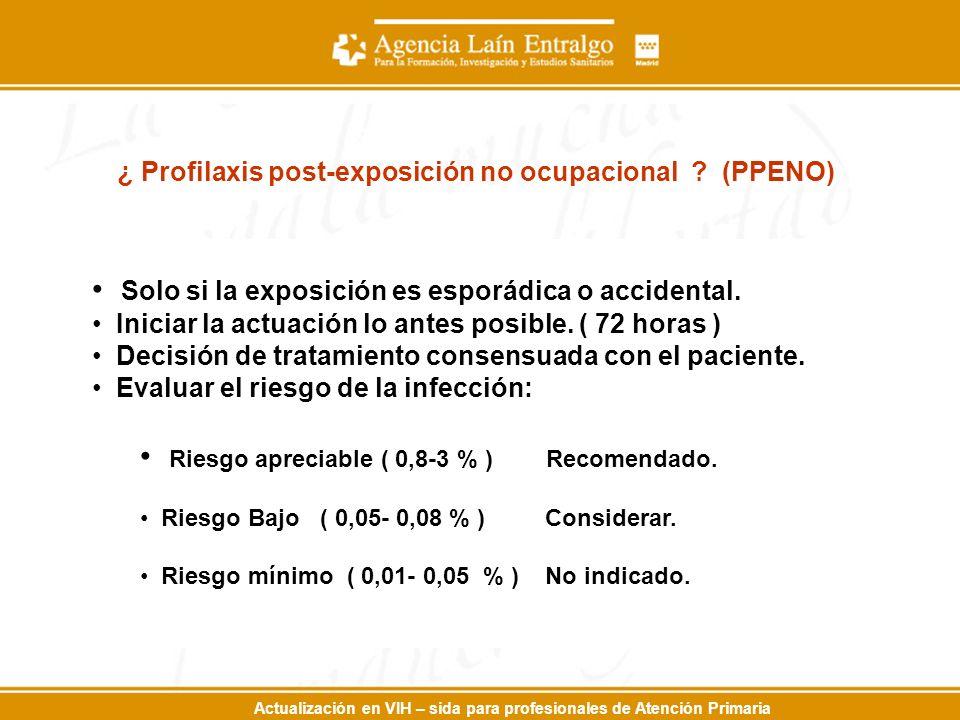 Actualización en VIH – sida para profesionales de Atención Primaria ¿ Profilaxis post-exposición no ocupacional .