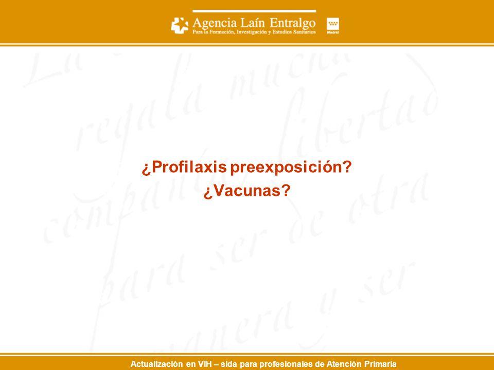 Actualización en VIH – sida para profesionales de Atención Primaria ¿Profilaxis preexposición.