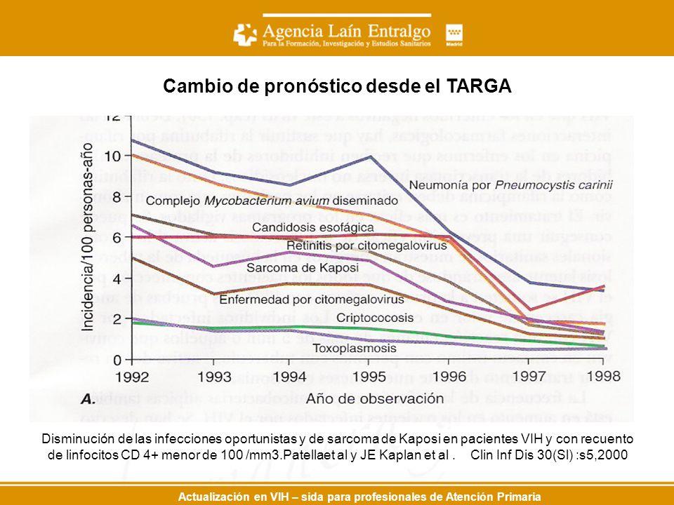 Actualización en VIH – sida para profesionales de Atención Primaria Cambio de pronóstico desde el TARGA Disminución de las infecciones oportunistas y de sarcoma de Kaposi en pacientes VIH y con recuento de linfocitos CD 4+ menor de 100 /mm3.Patellaet al y JE Kaplan et al.